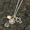 Handcast Silver Open Cross with Coin and Pearl Necklace