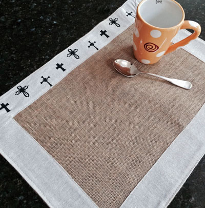 Burlap Placemat with Linen Trim - Crosses