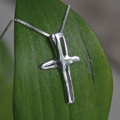 Cruz Sterling Silver Cross Necklace LARGE