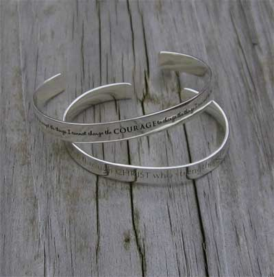 Philippians 4:13 Sterling Silver Cuff LARGE