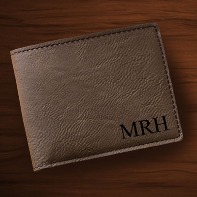 Personalized Leatherette Wallet with Initials - Dark Brown LARGE