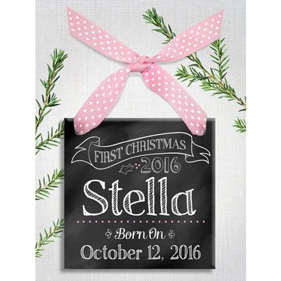 Baby Girl First Christmas Personalized Chalk Ornament LARGE