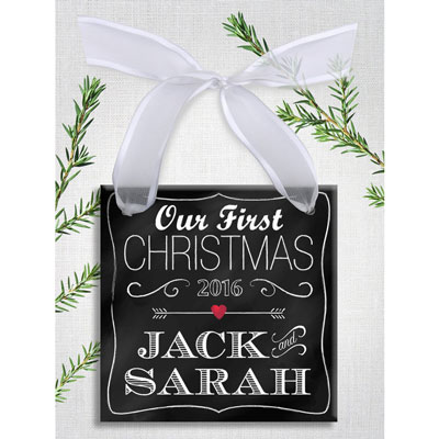 Our First Christmas Personalized Chalk Ornament LARGE