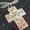 First Communion Ceramic Wall Cross - Pink THUMBNAIL