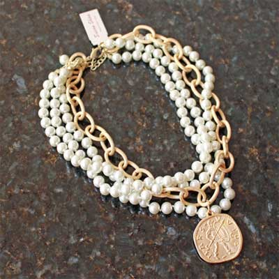 Handcast 3 Strand Pearl and Gold Coin Necklace