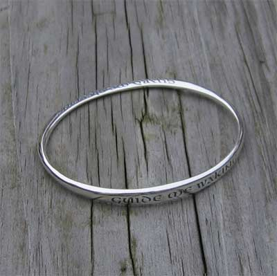 Guide Me Waking; Guard Me Sleeping Sterling Silver Mobius Bracelet LARGE