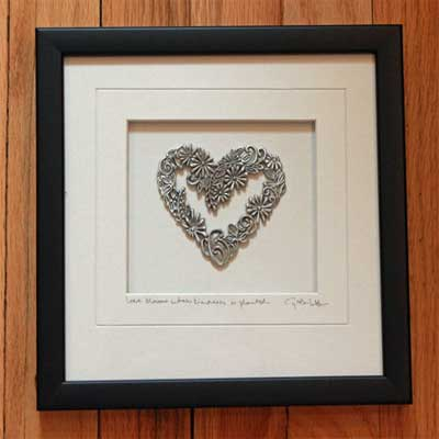 Cynthia Webb Framed Pewter Ornament - Flower Heart ...