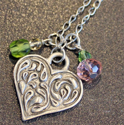 Pewter Heart Pendant by Cynthia Webb LARGE