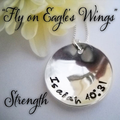 STRENGTH Isaiah 40:31 Sterling Silver Necklace LARGE