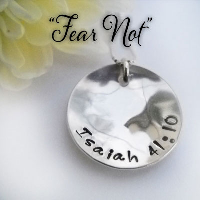 FEAR NOT Isaiah 41:10 Sterling Silver Necklace LARGE
