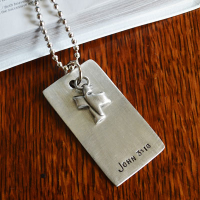 John 3:16 Pewter Dog Tag