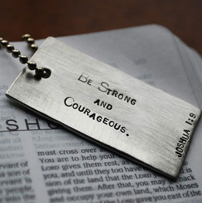 Joshua 1:9 Scripture Dog Tag LARGE