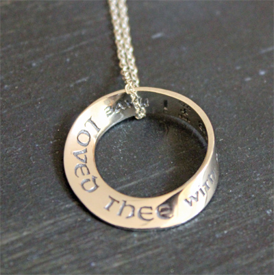 I have loved thee... Jeremiah 31:3 Mobius Necklace LARGE