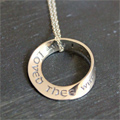 I have loved thee... Jeremiah 31:3 Mobius Necklace THUMBNAIL