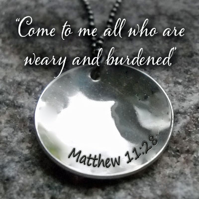 REST. PEACE. HOPE. Matthew 11:28 Sterling Silver Necklace LARGE