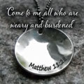 REST. PEACE. HOPE. Matthew 11:28 Sterling Silver Necklace SWATCH