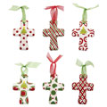 Cross Christmas Cross Ornaments - Set of 6