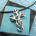 Mexico Cross Sterling Silver Necklace on Black Satin Cord THUMBNAIL