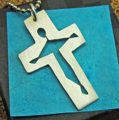Nickel Silver Crucifix Necklace LARGE