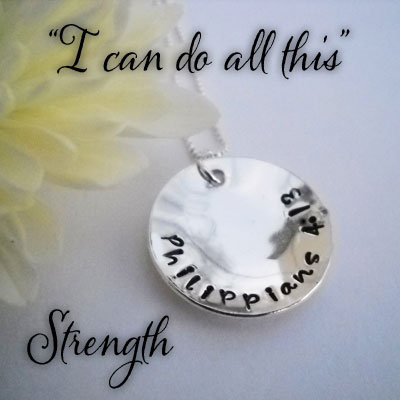 STRENGTH Philippians 4:13 Sterling Silver Necklace LARGE