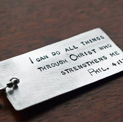 Philippians 4:13 Scripture Dog Tag