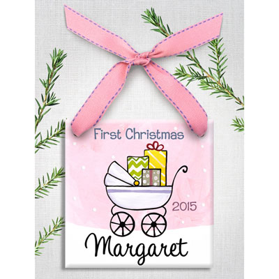 Personalized Baby Buggy Ornament for Girl LARGE