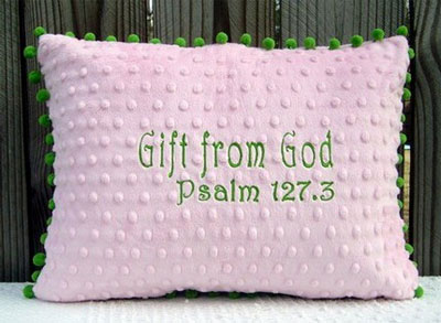 'Gift from God' Pink/Green Pillow LARGE