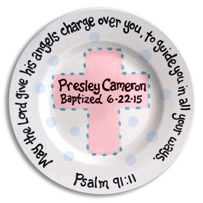 Personalized Baptism Plate - Angels with Pink Cross - 10""