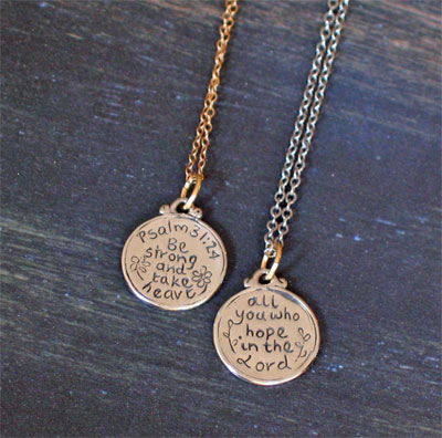 Sterling Silver Small Scripture Medallion - Psalm 31:24