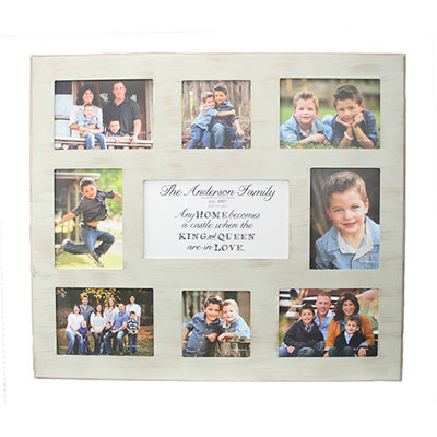 Personalized Photo Frame for 8 Photos - Wicker LARGE