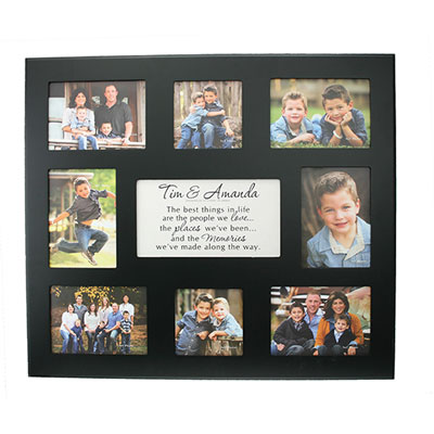 Personalized Photo Frame for 8 Photos - Black LARGE