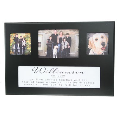 Personalized Photo Frame for 3 Photos - Black LARGE