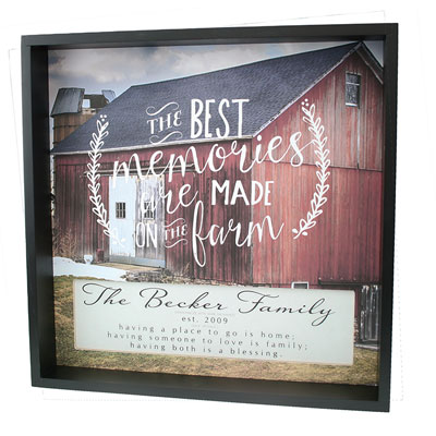 Personalized Shadow Box - The Best Memories are Made on the Farm LARGE