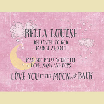 Light Box Personalized Insert - Pink Love You To The Moon