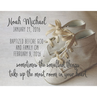 Light Box Personalized Insert - Baby Shoes LARGE