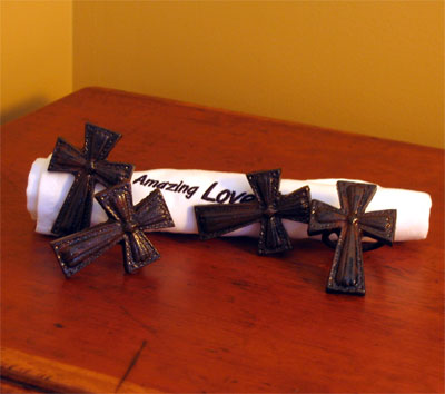 Wrought Iron Cross Napkin Ring