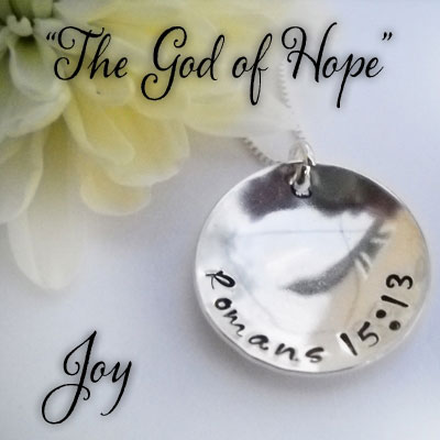 JOY Romans 15:13 Sterling Silver Necklace LARGE