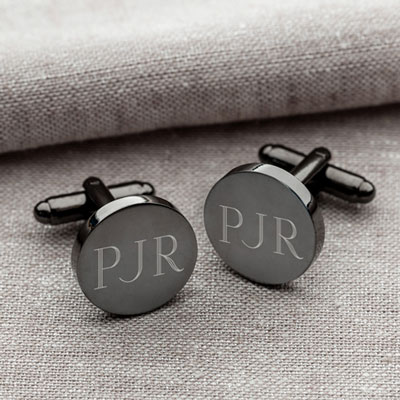 Gunmetal Round Cuff Links Personalized with Initials LARGE