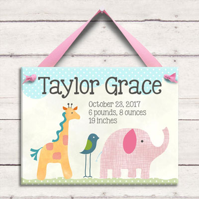 Personalized Birth Tile - Safari Nursery - Pink