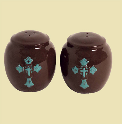 Turquoise Cross Ceramic Salt and Pepper Shaker LARGE