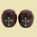 Turquoise Cross Ceramic Salt and Pepper Shaker THUMBNAIL