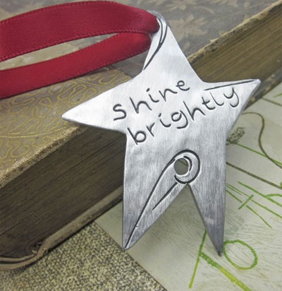 Shine Brightly Pewter Ornament LARGE