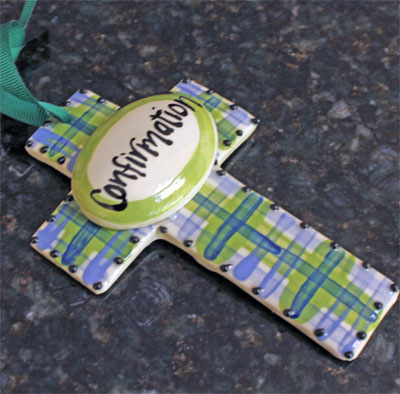 Small Confirmation Ceramic Wall Cross - Blue/Green LARGE
