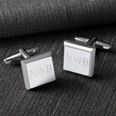 Modern Square Cuff Links with Initials LARGE