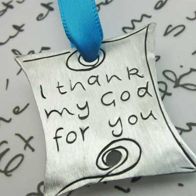 I thank my God for you Pewter Ornament