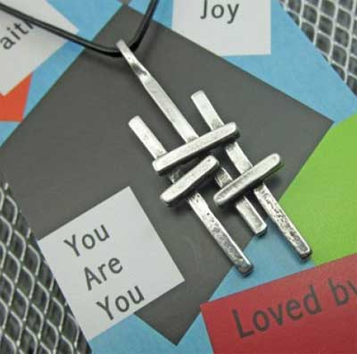 "Triple Cross Pewter Pendant on 24"" Leather LARGE"