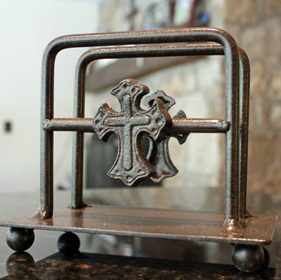 Wrought Iron Up Right Napkin Holder with Cross LARGE