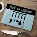 Personalized Glass Cutting Board - Utensils THUMBNAIL
