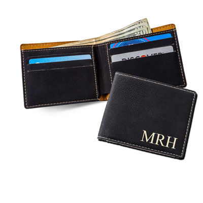 Personalized Leatherette Wallet with Initials - Black