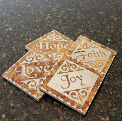 Faith, Hope, Love and Joy Slate Coaster Set LARGE